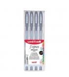 Pochette de 4 stylos gel UNIBALL Signo Fantastic métallisés - argent
