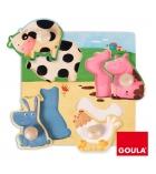 Puzzle d'encastrement GOULA 4 pièces les animaux de la ferme - dès 1 an