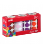 Pack de 2832 gommettes APLI Ø 33 mm - marron/rose/mauve/orange