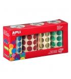 Pack de 5640 gommettes APLI Ø 20 mm - bleu/rouge/vert/jaune