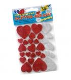 Pochette de 40 cœurs stickers en mousse pailletée adhésive - 3 tailles