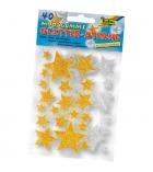 Pochette de 40 étoiles stickers en mousse pailletée adhésive - 3 tailles