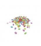 Bocal de 550 perles olives striées en plastique - 13 x 8 mm - multicolore