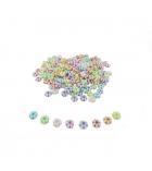 Bocal de 630 perles rondelles fleurs plastique