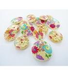 """Sachet de 150 boutons en bois """"fleurs"""" - 3 modèles assortis"""
