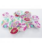 """Sachet de 150 boutons en bois """"fleurs et cœurs"""" - 3 modèles assortis"""