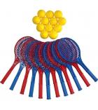 Set de 12 raquettes tennis en PVC - 54 cm + 12 balles mousse - Ø 7 cm