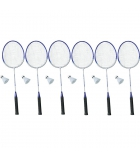 Lot de 6 raquettes de badminton + 6 volants