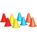 Lot de 8 cônes de délimitation en PVC extra souple - hauteur 17 cm