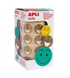 Rouleau de 900 gommettes APLI smiley enlevables Ø 20 mm