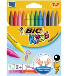 Pochette de 12 craies de coloriage BIC KIDS Plastidecor - couleurs vives - assortiment