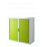 Armoire basse à rideaux EASYOFFICE - blanc/vert anis