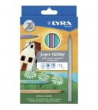 Etui de 12 crayons de couleur triangulaires LYRA Super Ferby métal