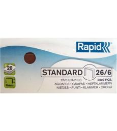 Boîte de 5000 agrafes RAPID - 26/6 cuivré