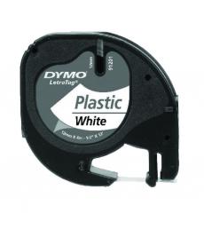 Ruban laminé plastique DYMO Letratag - 12 mm x 4 m - noir/blanc