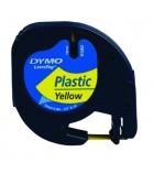 Ruban laminé plastique DYMO Letratag - 12 mm x 4 m - noir/jaune