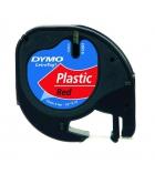 Ruban laminé plastique DYMO Letratag - 12 mm x 4 m - noir/rouge