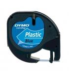 Ruban laminé plastique DYMO Letratag - 12 mm x 4 m - noir/bleu