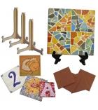 Lot de 20 plaques céramiques à décorer 10 x 10 cm + 20 chevalets