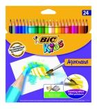 Étui 24 crayons de couleurs BIC Aquacouleur - couleurs assorties