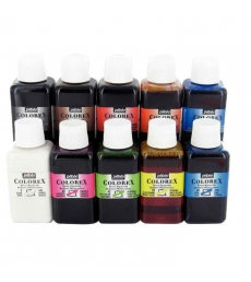 Assortiment de 10 flacons 250 ml encre aquarellable PEBEO Colorex