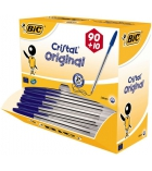 Pack de 90 + 10 stylos bille BIC - Cristal Original - pointe moyenne 1 mm