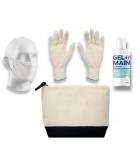 Kit Safety Premium femme : 3 paires de gants + 3 masques + 3 gels hydroalcooliques