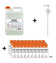 Schoolpack  solution hydroalcoolique 1 bidon 5 litres + 30 flacons vides