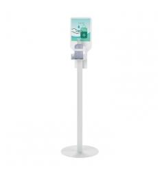 Présentoir pour gel hydroalcoolique acier époxy blanc
