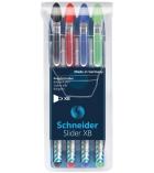 Pochette de 4 stylos bille - SCHNEIDER - Slider basic XB - pointe extra large - assortiment