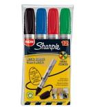 Pochette de 4 marqueurs - SHARPIE - Métal Barrel - pointe moyenne ogive - assortiment