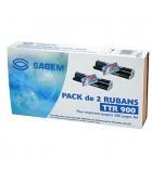 Kit 2 rubans transfert thermique noirs SAGEM 2 x 140 pages - TTR900