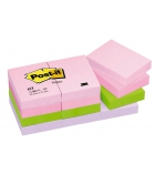 Lot de 12 blocs - POST-IT - 38 x 51 mm - couleurs douceur