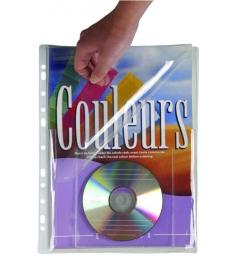 Paquet de 5 pochettes plan PVC perforées 1 cd