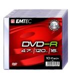 Pack 10 DVD-R 4,7 Go - EMTEC - 16x - boîtier slim