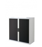 Armoire basse à rideaux - EASYOFFICE - blanc/noir