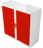 Armoire basse à rideaux - EASYOFFICE - blanc/rouge
