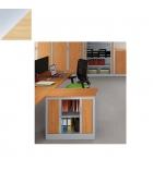 Armoire monobloc à rideaux 69 x 80 x 43 cm - Ariv - 1 tablette - alu/chêne clair