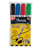 Pochette de 4 marqueurs - SHARPIE - Métal Barrel - pointe moyenne biseautée - assortiment