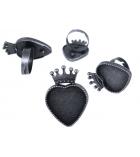 Sachet de 10 bagues cœurs et couronne en métal