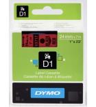 Ruban laminé DYMO D1 - 24 mm x 7 m - noir/rouge