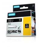 Ruban vinyl DYMO pour Rhino - 12 mm x 5,5 m - blanc/noir