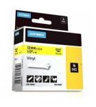 Ruban vinyl DYMO pour Rhino - 12 mm x 5,5 m - noir/jaune