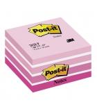 Bloc cube POST-IT - 450 feuillets 76 x 76 mm pastel - rose