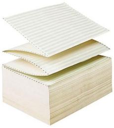 Carton papier listing 2000 plis 12''x 380 mm - 1+0 - bande caroll détachable micro-perforée 4 côtés