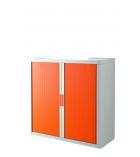 Armoire basse à rideaux EASYOFFICE - blanc /orange