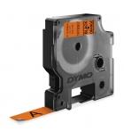 Ruban DYMO D1 haute performance - 12 mm x 3 m - noir/orange