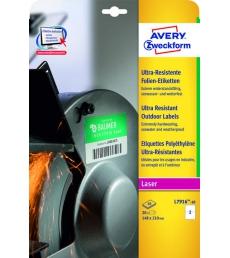Boîte de 20 étiquettes polyethylène laser AVERY - L7916-10 - 210 x 148 mm