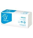 Colis de 15 paquets d'essuie-mains plié en V 250 feuilles 2 plis recyclé blanc 23 x 24 cm