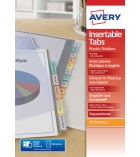Jeu intercalaires à onglets personnalisables AVERY A4 polypro 18µ 12 touches